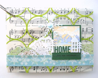 """handmade 5X7"""" ring-bound december journal with holiday ephemera kit """"HOME for the HOLIDAYS"""""""