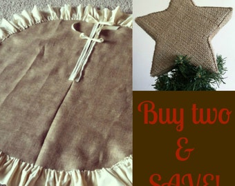 "48"" Burlap Tree Skirt and 8"" Topper"