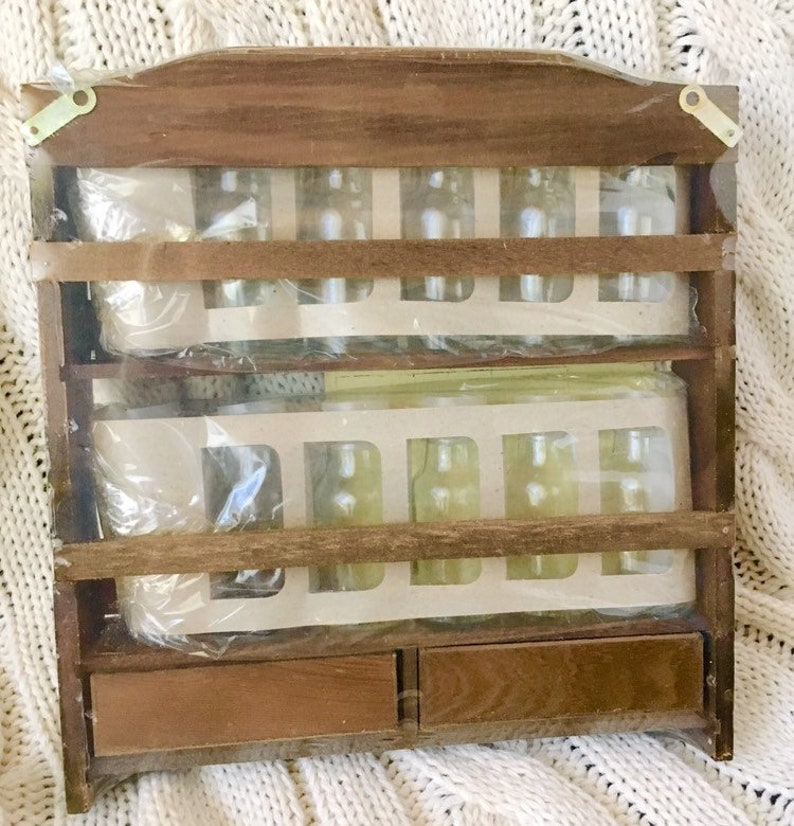 Vintage Wooden Spice Rack with Jars Bottle New Old Stock NOS Sealed Complete with Labels Wood Glass Kitschy Country Kitchen Gift Idea
