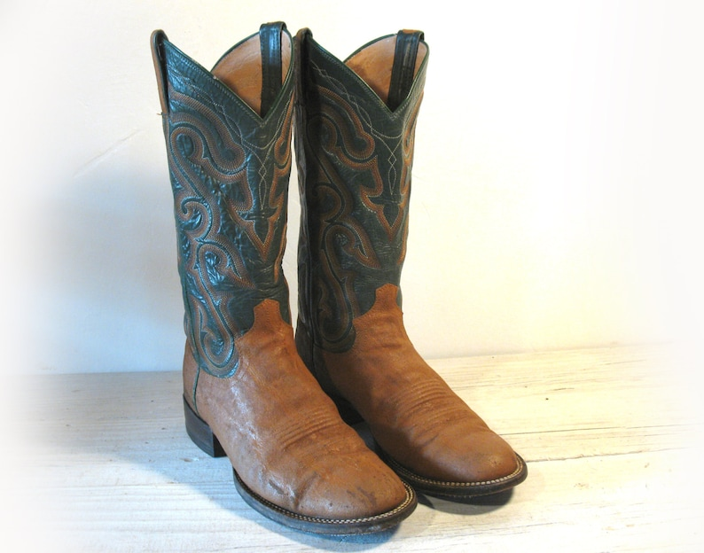 6960b4fcfaf Vintage Cowboy Boots, Panhandle Slim Green & Tan All Leather and Exotic,  Men's size 8.5 D / Women 10