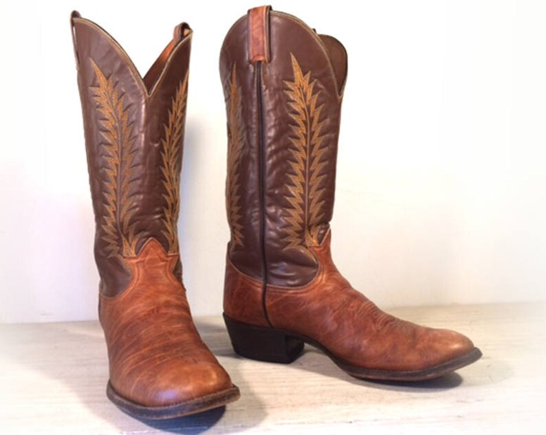 817cd2adba2 Vintage Cowboy Boots, Tony Lama Black Label Brown & Tan All Leather and  Bullhide, Men's size 10 D