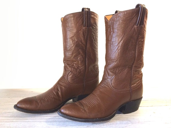 0437405c2c6 Vintage Cowboy Boots, Tony Lama Black Label Smooth & Crinkle Spice Brown  All Leather, Men's size 10 B