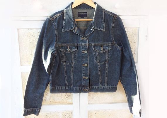 2ee173583 Vintage Blue Jean Jacket, American Eagle Outfitters Dark Denim, Women's  size L