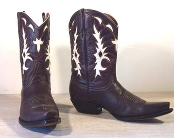 Vintage Cowboy Boots, Old Gringo, Eggplant Black All Leather with White inlays, Snip Toe, Women size 8 B