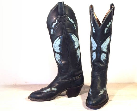8baedda9370 Vintage Cowboy Boots, Tall Tony Lama Black Label Navy All Leather with Blue  Butterfly Inlays, Cut-outs, Women's or Girl's size 5 A / 5.5