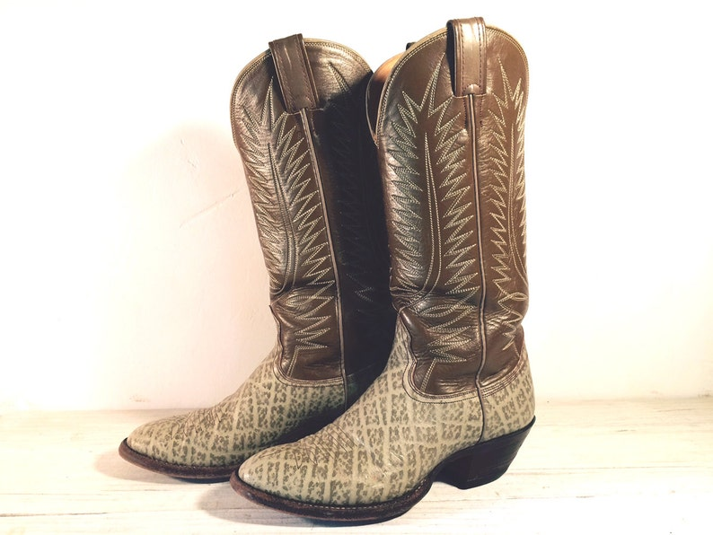 c7e1c1edb59 Vintage Cowboy Boots, Nocona Tall Animal Print, Olive Tan All Leather with  Riding Heel, Men's size 8.5 D or Women 10