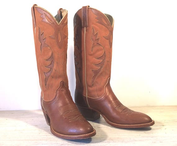 Vintage Cowboy Boots, Dan Post Brown & Tan All Leather with Inlays, Cutouts, High Heels, Women's size 8 C