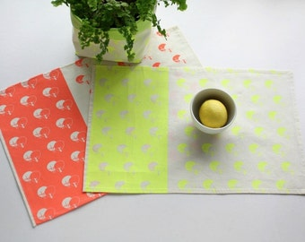Neon Placemats set x2 - Coral or yellow handprinted cotton placemats - Trees pattern