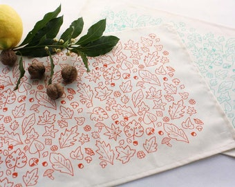 Cotton placemats set x 2 -Handprinted placemats with leaves in coral or mint-Raw color cotton placemats screen-printed
