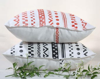 Decorative pillow cover hand-printed in red or black-Cushion cover, ecru cotton, stamped with pattern simulating tapes