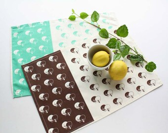 Mint or brown placemats set x 2  screen printed with trees pattern -  Cotton tablemats