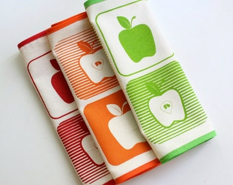 APPLE PLACEMATS set of 3 table mats screenprinted red, orange, green