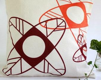 CUSHION cover handprinted - Minimalist design - Burgundy hues  modern flowers