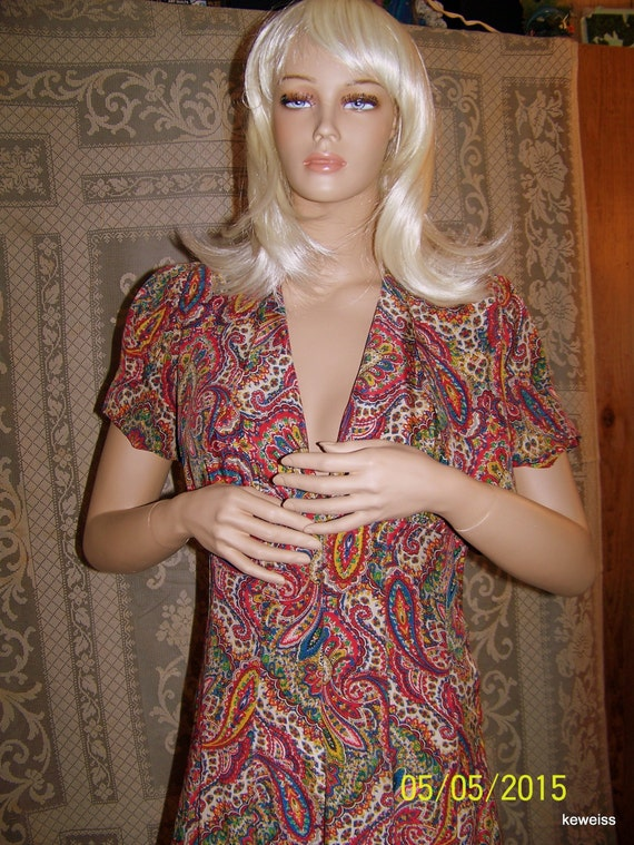 Vintage silk paisley dress and bolero shell from … - image 1