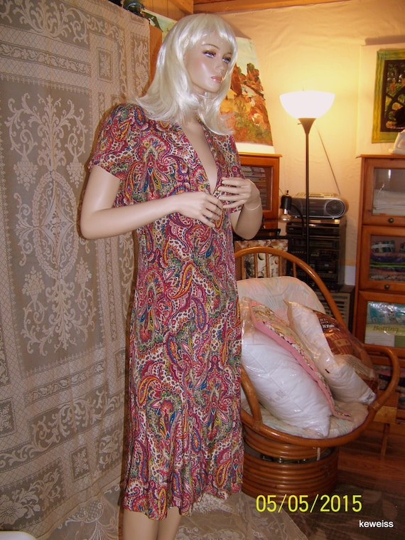 Vintage silk paisley dress and bolero shell from … - image 2