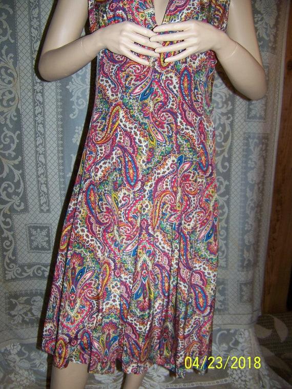 Vintage silk paisley dress and bolero shell from … - image 7