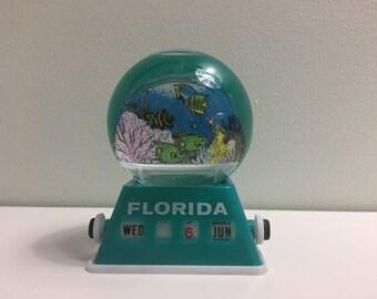 Vintage 80s 90s Perpetual Calendar Snow Globe Florida Tropical Fish Teal