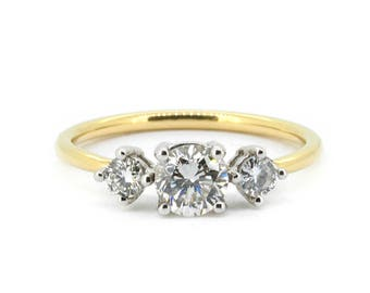 The Odette Ring - 18ct Gold Fine Diamond Trilogy Engagement Ring