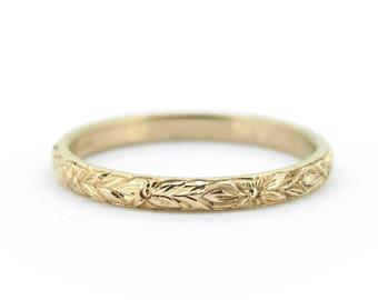 The Orange Blossom Wedding Ring - Hand Engraved Gold Ring