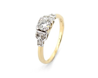 Arielle Deco Diamond Engagement Ring - Vintage 18ct Gold 0.35ct Diamond Ring