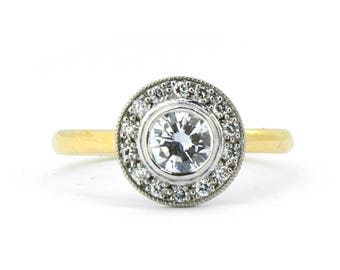 The Madeleine Ring - Diamond Halo Engagement Ring Handmade 18ct Gold