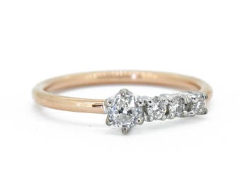 The Diamond Halley Ring - Antique Diamond Engagement Ring 18ct Gold