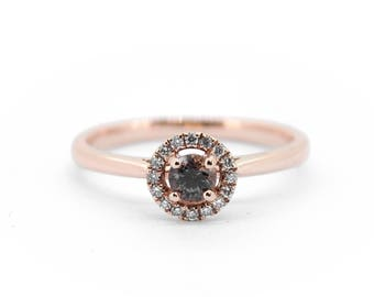 The Millie Ring - Rose Gold Mauve Sapphire Diamond Halo Ring Handmade 9ct Gold