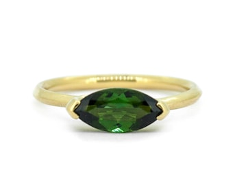 The Alexis Ring - 18ct Gold Green Tourmaline Deco Ring