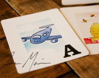 Alphabet Flashcards - Hand Painted Watercolor Prints of Full Alphabet + Cover