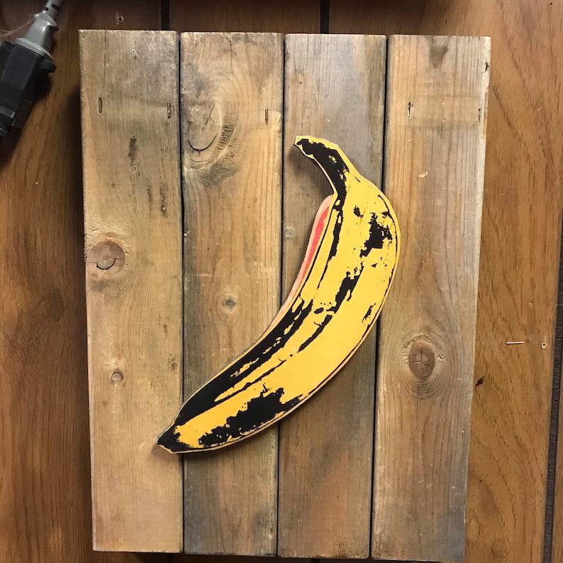 Banana Warhol Peel Here 3D Handmade Wood Art 9.25x13.5