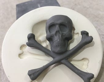 Clay Stamp Skull and Crossbones Pottery Press Mold Relief Mold or Sprig Mold Bisque Clay for Ceramic Decoration and Texture