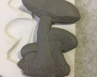 Mushroom Bunch Pottery Press Mold Relief Mold or Sprig Mold Bisque Clay Press Mold for Ceramic Decoration and Texture