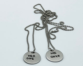 Her One His Only Hand Stamped Couples Necklaces