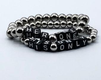 BDSM Bracelet Set for Them, Her One His Only, Boyfriend Girlfriend, Relationship Jewelry