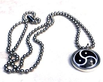 Triskelion Necklace, Cabochon Pendant Charm Necklace