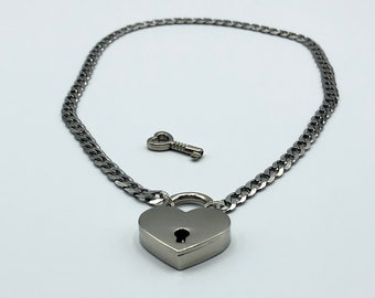 BDSM Stainless Steel Heart Locking Collar, Submissive Necklace, Ddlg Gifts, Day Collar