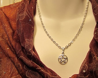 Pentacle Pentagram Necklace,  Wicca Jewelry , Pagan Jewelry, Pagan Ritual Wear, Made to Order
