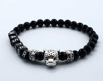 BDSM Master Bracelet, Onyx with Silver Leopard Head, Gift for Him