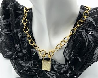 BDSM Collar with Padlock, Day Collar, Fetish Attire, Dungeon Play