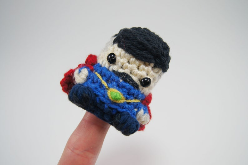 Crocheted Dr Strange Finger Puppet from the Avengers image 0