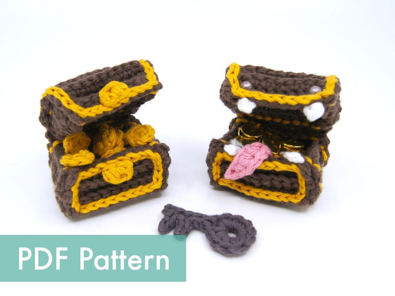 Crocheted Treasure Chest / Mimic Amigurumi PDF Pattern image 0