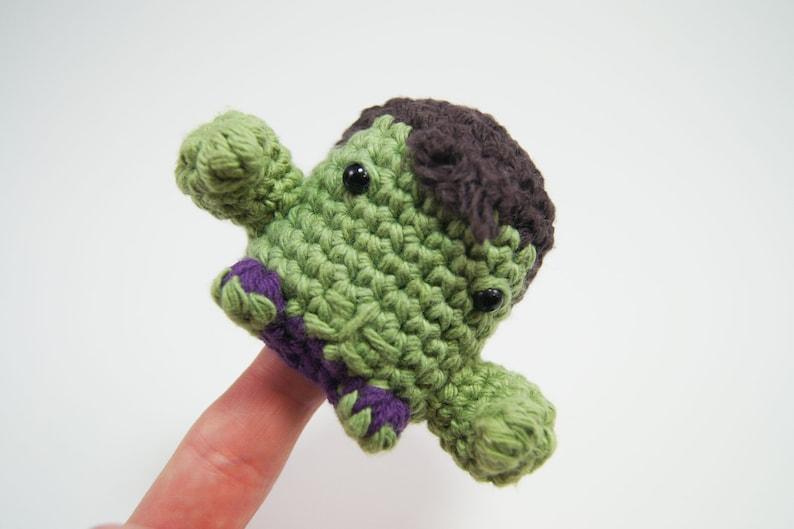 Crocheted Hulk Finger Puppet from the Avengers image 0