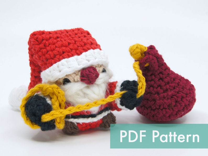 Crocheted Santa Claus Amigurumi Tree Ornament PDF Pattern image 0