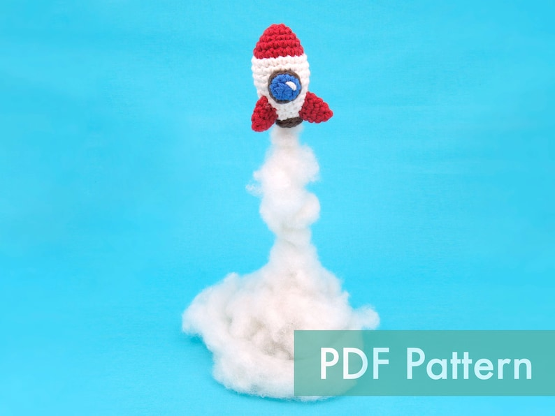 Crocheted Rocket Space Ship Beginner PDF and Video Crochet image 0