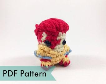 PDF Pattern for Crocheted David Bowie Amigurumi Kawaii Keychain Miniature Doll Plush