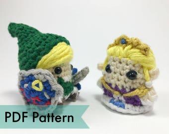 Link and Princess Zelda from Legend of Zelda Crocheted Amigurumi Finger Puppet PDF Pattern Bundle