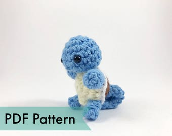PDF Pattern for Crocheted Squirtle Amigurumi Kawaii Keychain Miniature Doll Plush