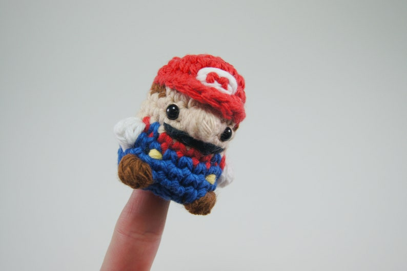 Crocheted Mario Keychain or Finger Puppet image 0