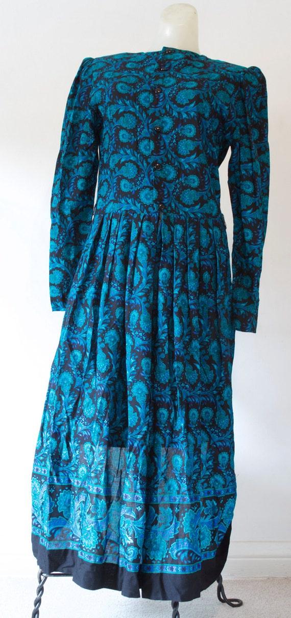 Lanz Vintage Blue Floral Midi Dress