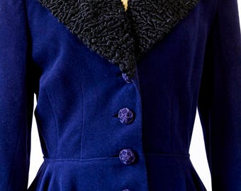 Vintage Midnight Blue Suit With Fur Collar and Details